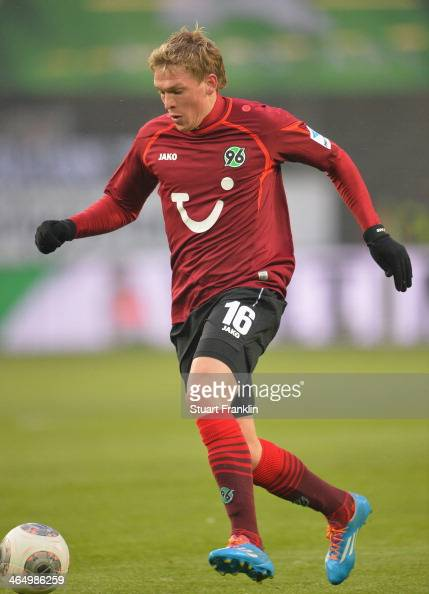 of Artjoms Rudnevs of Hannover in action during the Bundesliga match between VfL Wolfsburg and Hannover 96 at Volkswagen Arena on January 25 2014 in...