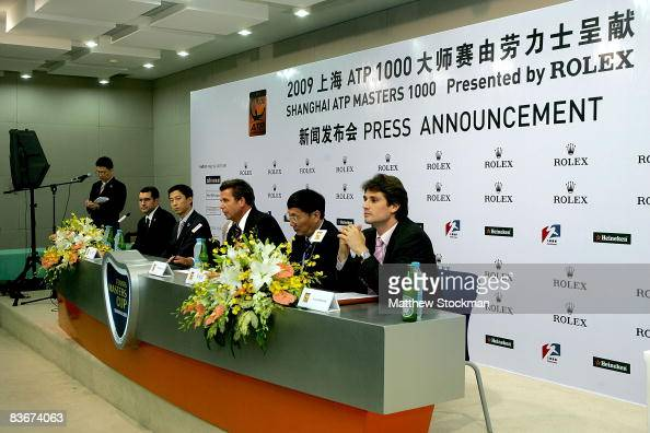 CEO of ATP International Brad Drewett center addresses the media at a press conference to announce Rolex as the presenting sponsor of next year's...