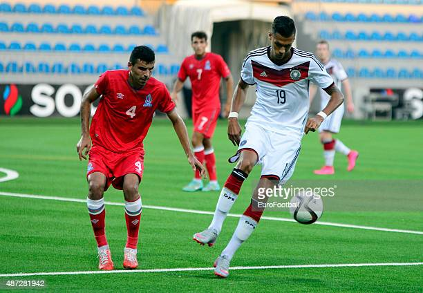 NAGIYEV of Azerbaijan challenges DAVIE SELKE of Germany during the 2017 UEFA European U21 Championships Qualifier at Dalga Stadium on September 8...