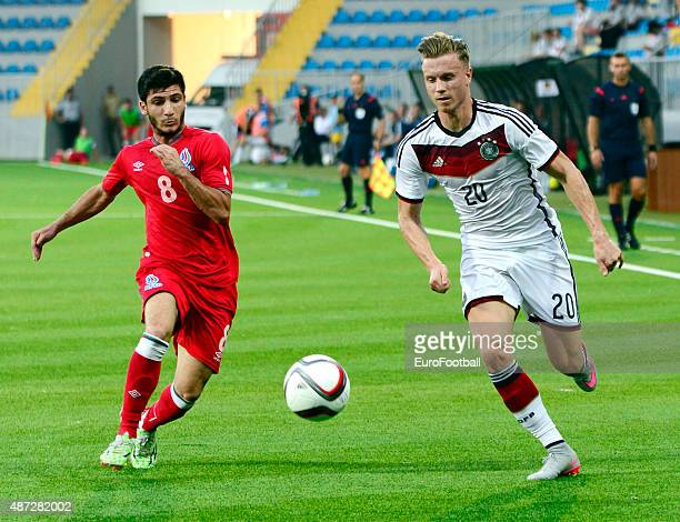 ABDULLAYEV of Azerbaijan challenges YANNICK GERHARDT of Germany during the 2017 UEFA European U21 Championships Qualifier at Dalga Stadium on...