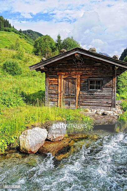 HDR of Barn in alpine Tirol river landscape (Austria)