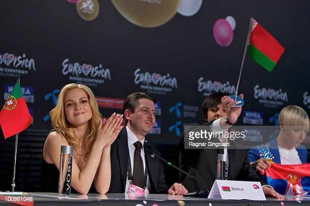 32 of Belarus during a press conference after the first semi final at the Telenor Arena on May 25 2010 in Oslo Norway In all 39 countries will take...
