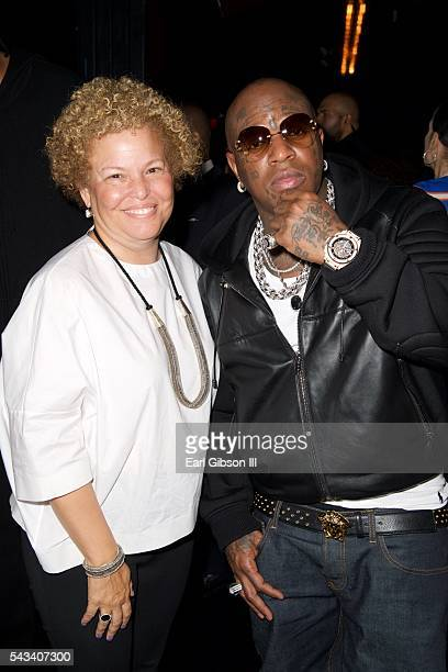 CEO of BET Debra Lee and rapper Birdman attend BET 'Music Moguls' Premiere Event at 1OAK on June 27 2016 in West Hollywood California