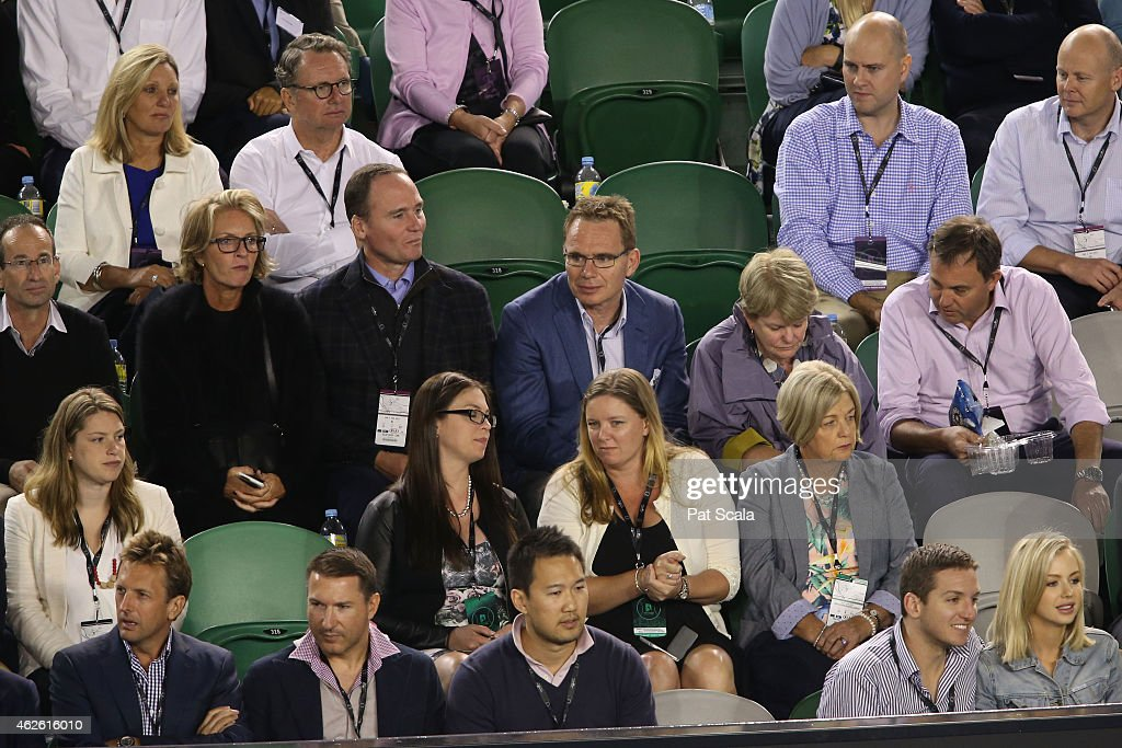 CEO of BHP Billiton Andrew Mackenzie watches the action at Rod Laver Arena during day 14 of the 2015 Australian Open at Melbourne Park on February 1, 2015 in Melbourne, Australia.
