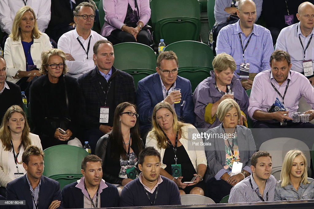 CEO of BHP Billiton Andrew Mackenzie watches the action at Rod Laver Arena during day 14 of the 2015 Australian Open at Melbourne Park on February 1...