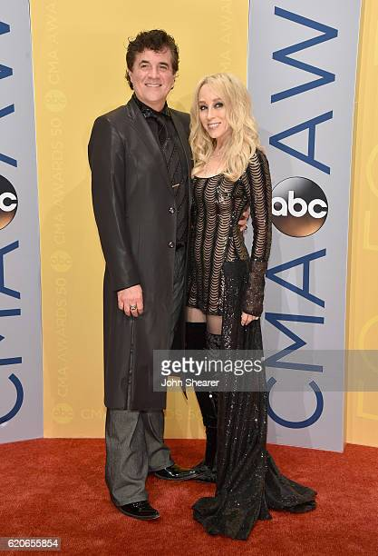 CEO of Big Machine Records Scott Borchetta and Sandi Spika Borchetta attend the 50th annual CMA Awards at the Bridgestone Arena on November 2 2016 in...