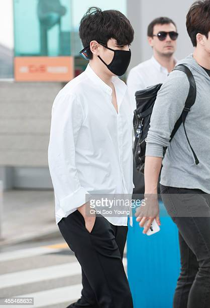 P of BigBang is seen at Incheon International Airport on September 12 2014 in Incheon South Korea
