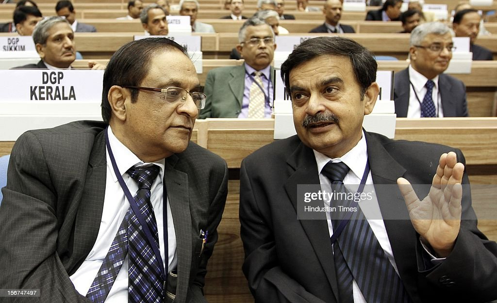'NEW DELHI, INDIA- SEPTEMBER 6: ( Right to Left ) DG of Bihar police Abhayanand with Chhattisgarh DGP Anil M Navaney at the DGPs/IGPs Conference at Vigyan Bhawan on September 6, 2012 in New Delhi, India. (Photo by Arvind Yadav/Hindustan Times via Getty Images)'