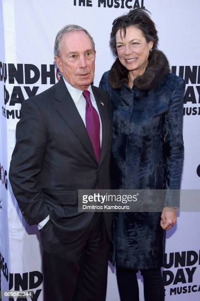 CEO of Bloomberg LP Michael Bloomberg and Diana Taylor attend the 'Groundhog Day' Broadway Opening Night at August Wilson Theatre on April 17 2017 in...
