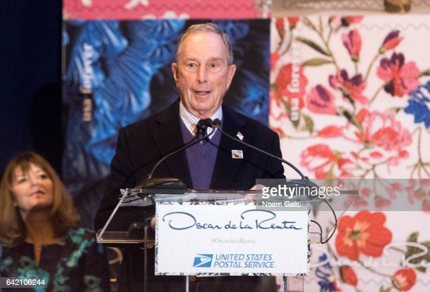 CEO of Bloomberg LP Michael Bloomberg speaks at the Oscar de la Renta Forever Stamp dedication ceremony at Grand Central Terminal on February 16 2017...