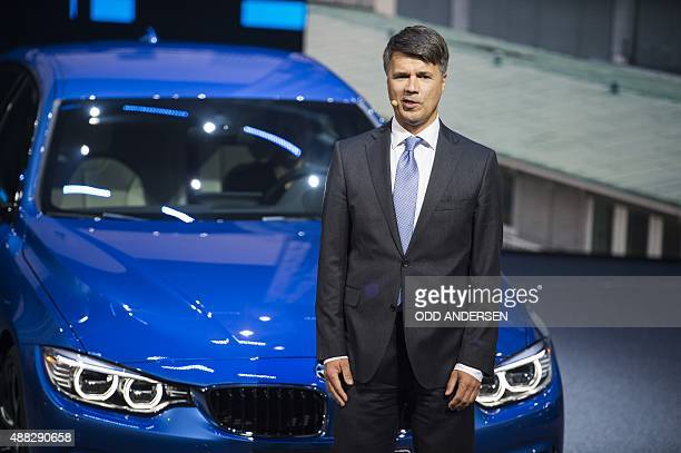 CEO of BMW Harald Krueger speaks at the 66th IAA auto show in Frankfurt am Main western Germany on September 15 2015 AFP PHOTO / ODD ANDERSEN