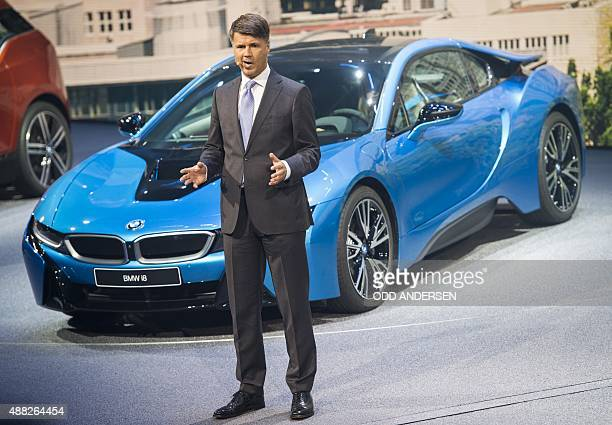 CEO of BMW Harald Krueger speaks moments before fainting during a presentation at the 66th IAA auto show in Frankfurt on September 15 2015 Hundreds...