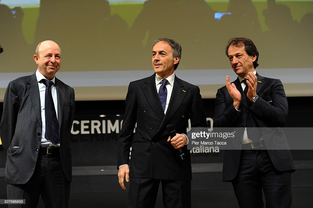 CEO of Borsa Italiana Raffaele Jerusalmi, President and founder of Technogym <a gi-track='captionPersonalityLinkClicked' href=/galleries/search?phrase=Nerio+Alessandri&family=editorial&specificpeople=4607198 ng-click='$event.stopPropagation()'>Nerio Alessandri</a> and Pierluigi Alessandri attend the Technogym Listing Ceremony at Palazzo Mezzanotte on May 3, 2016 in Milan, Italy. Technogym is the world leader in the construction of equipment for gyms, founded in 1983 by <a gi-track='captionPersonalityLinkClicked' href=/galleries/search?phrase=Nerio+Alessandri&family=editorial&specificpeople=4607198 ng-click='$event.stopPropagation()'>Nerio Alessandri</a>, and was listed today on the Milan Stock Exchange.