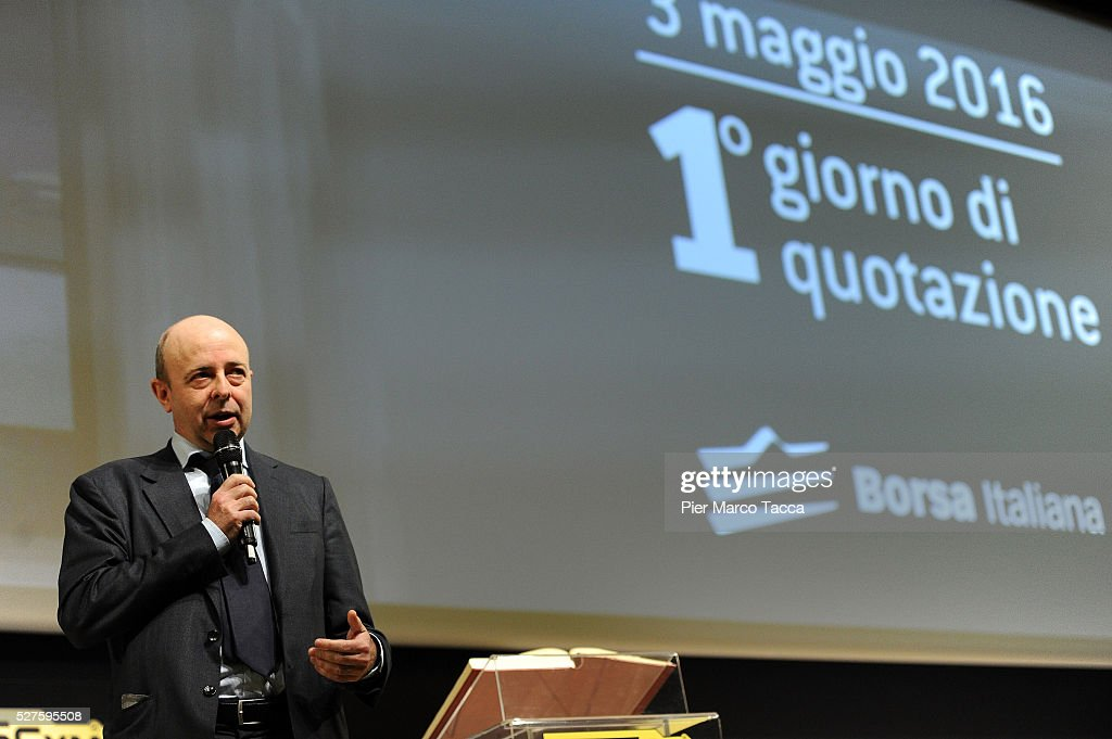 CEO of Borsa Italiana Raffaele Jerusalmi talks during the Technogym Listing Ceremony at Palazzo Mezzanotte on May 3, 2016 in Milan, Italy. Technogym is the world leader in the construction of equipment for gyms, founded in 1983 by Nerio Alessandri, and was listed today on the Milan Stock Exchange.