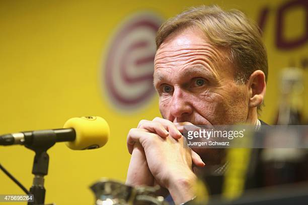 CEO of Borussia Dortmund HansJoachim Watzke attends a news conference at Signal Iduna Park on June 3 2015 in Dortmund Germany