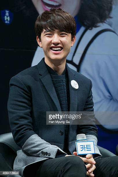 O of boy band EXOK attends the press conference for 'Cart' at CGV on September 30 2014 in Seoul South Korea