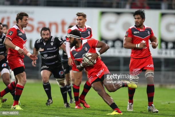 XXXXX of Brive and XXXX of Toulouse during the French Top 14 match between CA Brive and Toulouse on March 11 2017 in Brive France