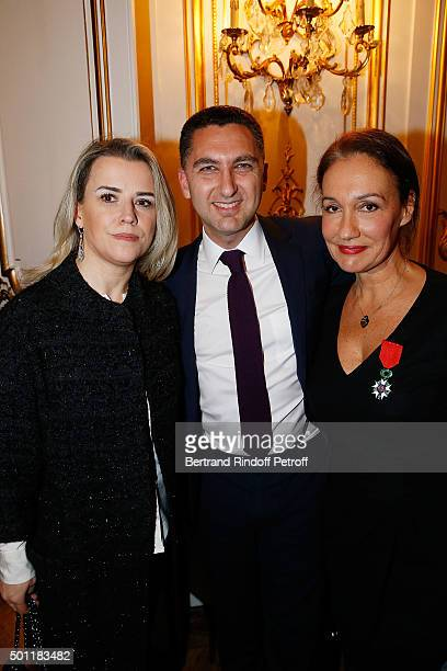 CEO of Canal Plus Maxime Saada with his wife Sylviie and Laurence Haim at Laurence Haim Is Honoured With The Insignes De Chevalier De La Legion...
