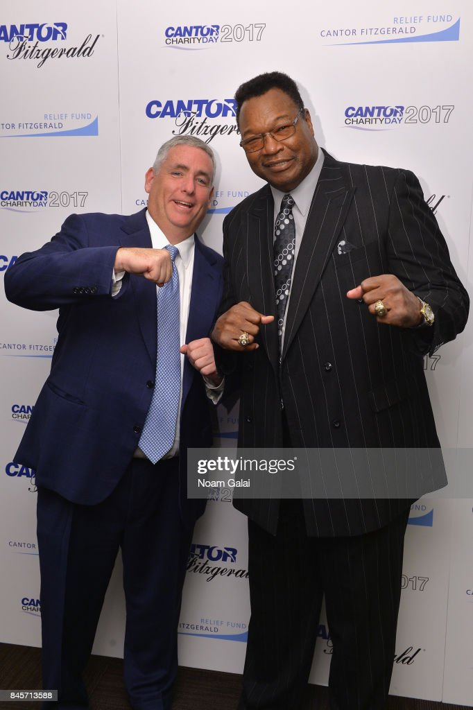 CEO of Cantor Fitzgerald Shawn Matthews and Boxer Larry Holmes participate in Annual Charity Day hosted by Cantor Fitzgerald, BGC and GFI at Cantor Fitzgerald on September 11, 2017 in New York City.