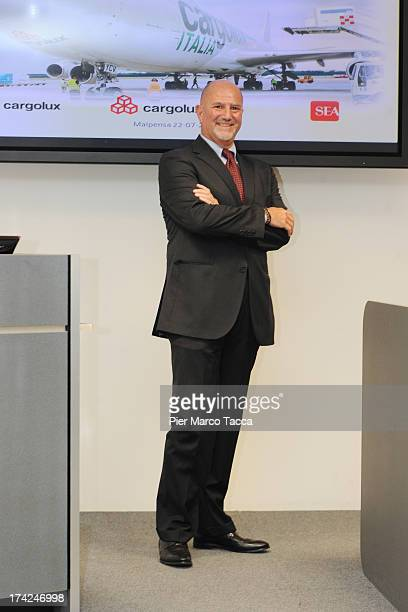 CEO of Cargolux Italia Pierandrea Galli attends a presentation of the company's new Boeing 747400F aircraft at Malpensa Airport on July 22 2013 in...