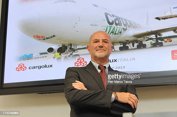 CEO of Cargolux Italy attends a presentation of new Boeing 747400F of the Cargolux Italia at Malpensa airport on July 22 2013 in Milan Italy Cargolux...