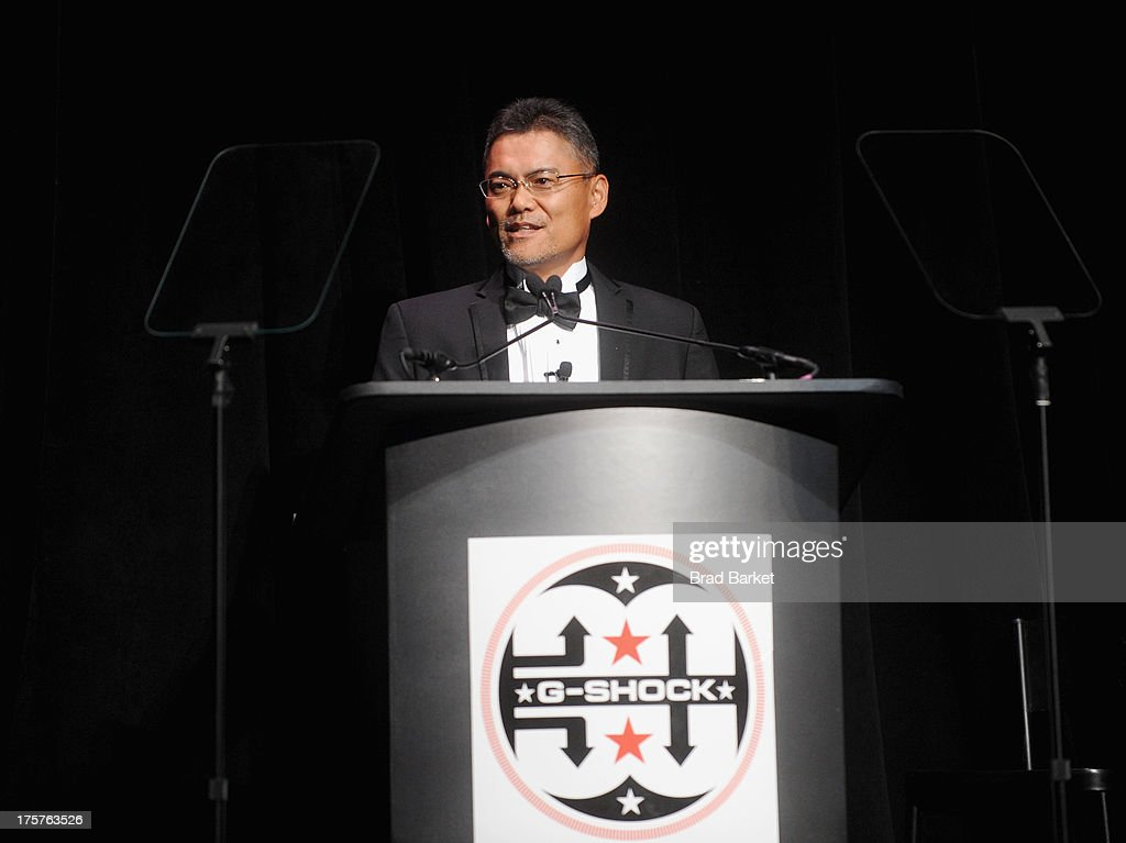 CEO of Casio and Founder of GShock Shigenori Itoh speaks onstage at GShock Shock The World 2013 at Basketball City on August 7 2013 in New York City