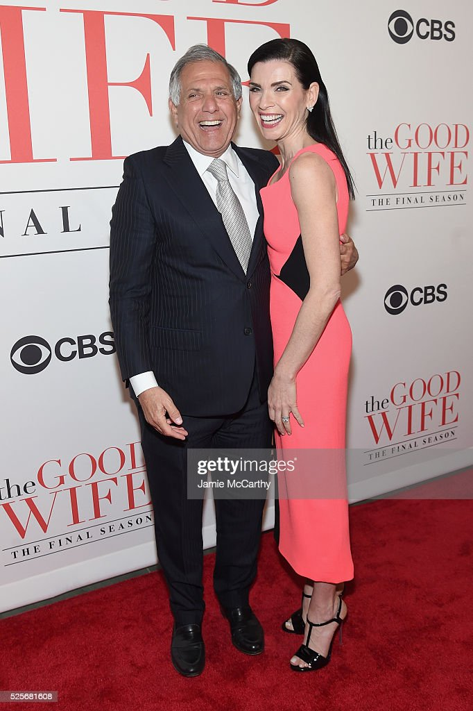 CEO of CBS Leslie Moonves and actress Julianna Margulies attend 'The Good Wife' Finale Party at Museum of Modern Art on April 28 2016 in New York City