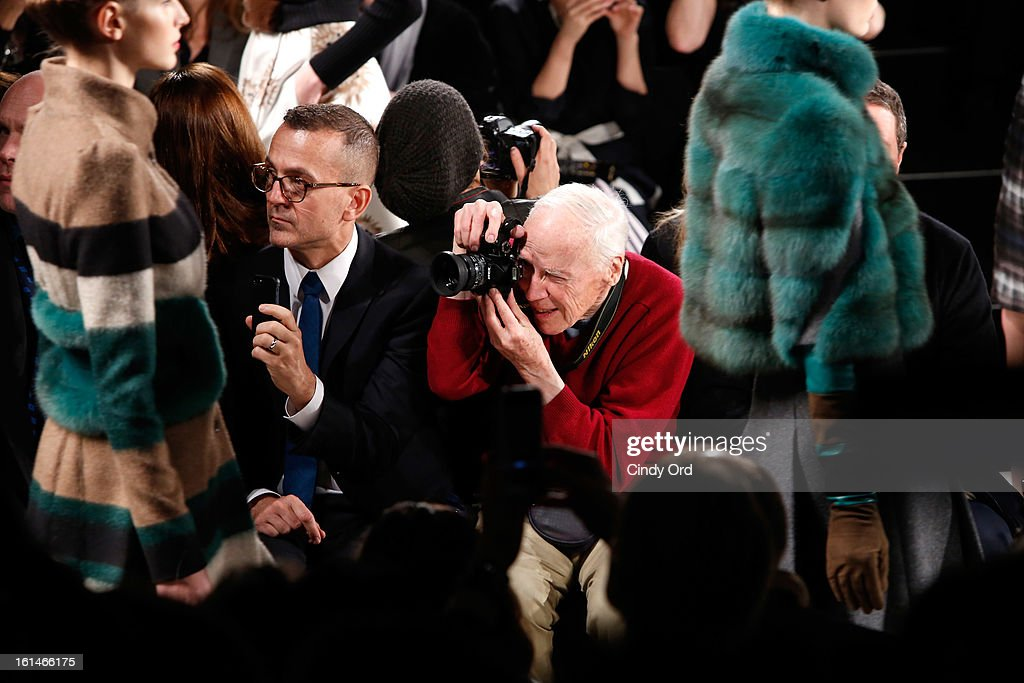 CEO of CFDA <a gi-track='captionPersonalityLinkClicked' href=/galleries/search?phrase=Steven+Kolb&family=editorial&specificpeople=854812 ng-click='$event.stopPropagation()'>Steven Kolb</a> (L) and photographer Bill Cunningham attend the Carolina Herrera Fall 2013 fashion show during Mercedes-Benz Fashion Week at The Theatre at Lincoln Center on February 11, 2013 in New York City.