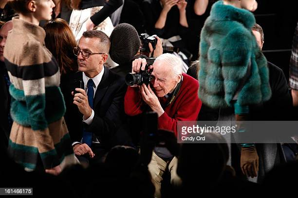 CEO of CFDA Steven Kolb and photographer Bill Cunningham attend the Carolina Herrera Fall 2013 fashion show during MercedesBenz Fashion Week at The...