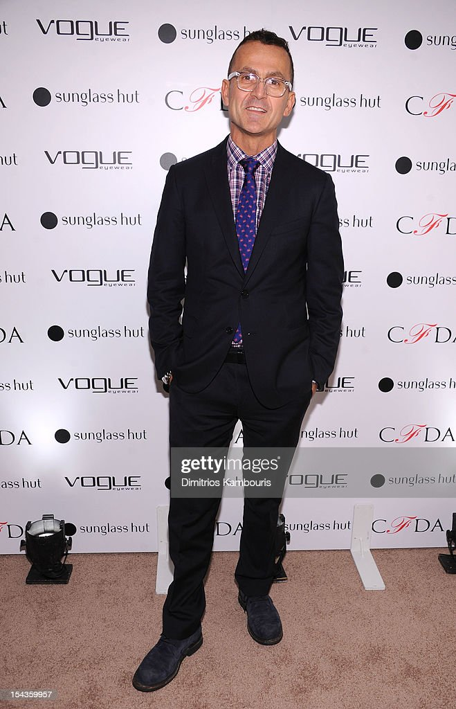 CEO of CFDA, <a gi-track='captionPersonalityLinkClicked' href=/galleries/search?phrase=Steven+Kolb&family=editorial&specificpeople=854812 ng-click='$event.stopPropagation()'>Steven Kolb</a> attends the Vogue Eyewear and CFDA unveiling of the 'Emma' sunglass with Nanette Lepore and Emma Roberts at Sunglass Hut on October 18, 2012 in New York City.