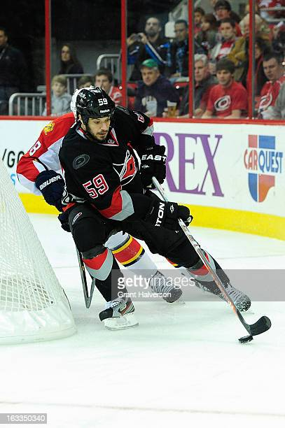 of Chad LaRose of the Carolina Hurricanes during play against the Florida Panthers at PNC Arena on March 2 2013 in Raleigh North Carolina The...