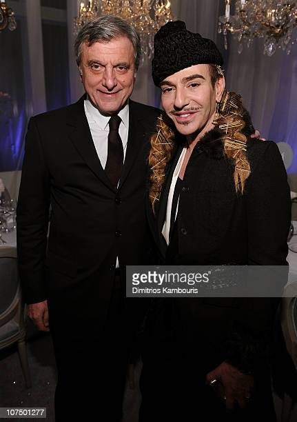 CEO of Christian Dior Sidney Toledan and designer John Galliano attend the Dior celebration of the reopening of its 57th Street Boutique cocktail...