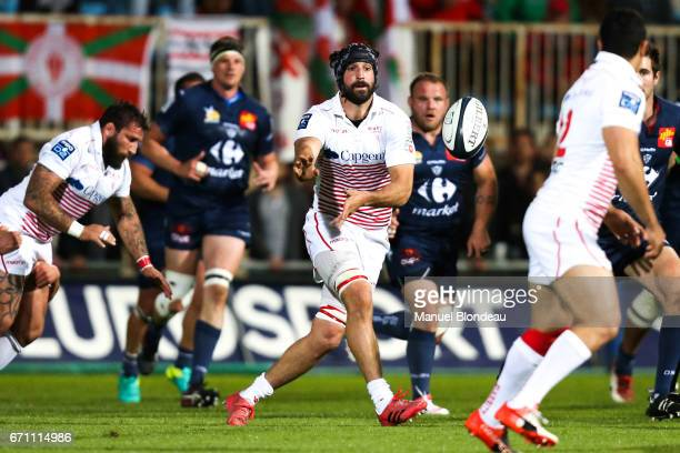 XXXX of Colomiers and XXXX of Biarritz during the Pro D2 match between Colomiers and Biarritz Olympique on April 20 2017 in Colomiers France