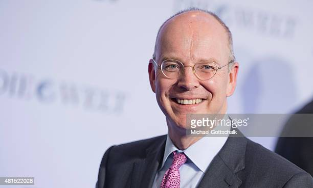 CEO of Commerzbank Martin Blessing arrives at Economy Summit Of German Newspaper Die Welt on January 14 2015 in Berlin Germany
