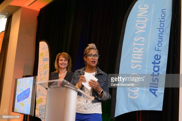 SVP of Corporate Relations for Allstate Vicky Dinges and Val Warner announce the winners of the Good Starts Young Rally at The Wit Hotel on June 21...