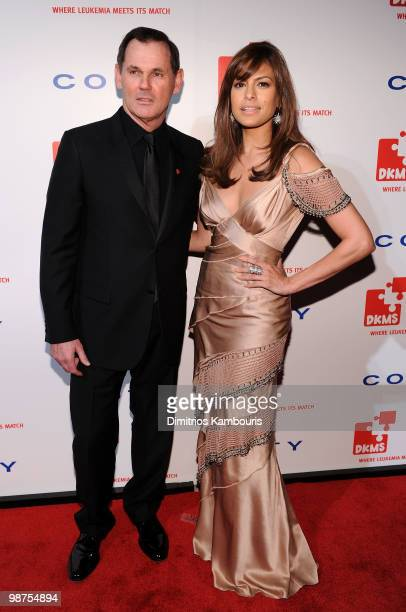 CEO of Coty Inc Bernd Beetz and actress Eva Mendes attend DKMS' 4th Annual Gala Linked Against Leukemia at Cipriani 42nd Street on April 29 2010 in...