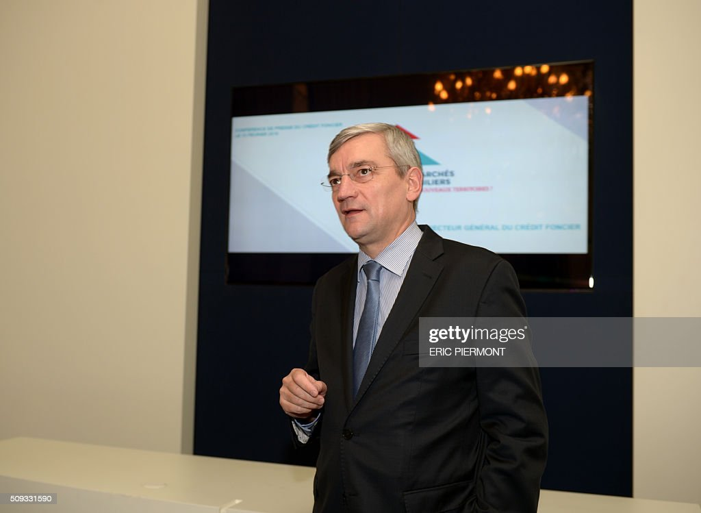 CEO of Credit Foncier de France bank, Bruno Deletre talks during his annual press conference in Paris on February 10, 2016. / AFP / ERIC PIERMONT