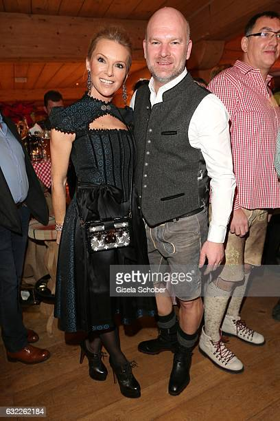 CEO of Depot Gries Deco Company GmbH Christian Gries and his wife Sandra Gries during the Weisswurstparty at Hotel Stanglwirt on January 20 2017 in...