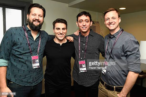 VP of Design at Airbnb Alex Schleifer Founder CEO of Airbnb Brian Cesky VP Product at Airbnb's Joe 'Joebot' Zadeh and Airbnb's Mike Curtis attend...