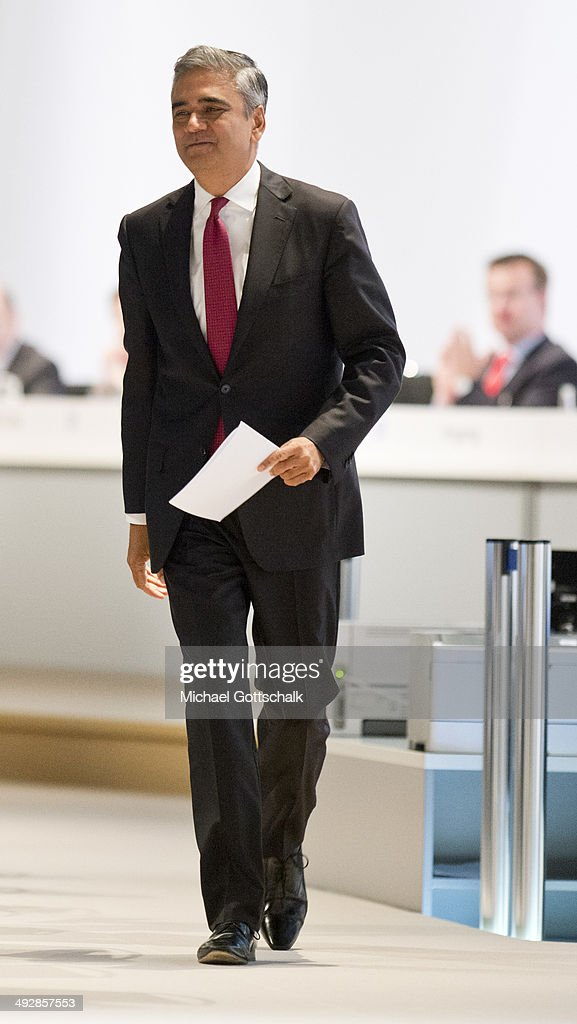 CEO of Deutsche Bank, <a gi-track='captionPersonalityLinkClicked' href=/galleries/search?phrase=Anshu+Jain&family=editorial&specificpeople=4132683 ng-click='$event.stopPropagation()'>Anshu Jain</a>, attends the annual general meeting of Deutsche Bank on May 22, 2014 in Frankfurt, Germany.