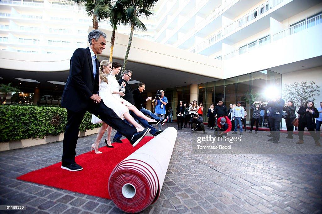 CEO of dick clark productions Allen Shapiro Miss Golden Globe 2015 Greer Grammer Moet Ambassador Elettra Wiedmann President of the HFPA Theo Kingma...