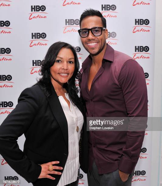 VP of Domestic Network Distribution and Multicultural Marketing Lucinda Martinez and singer Romeo Santos attend a press event celebrating Santos'...