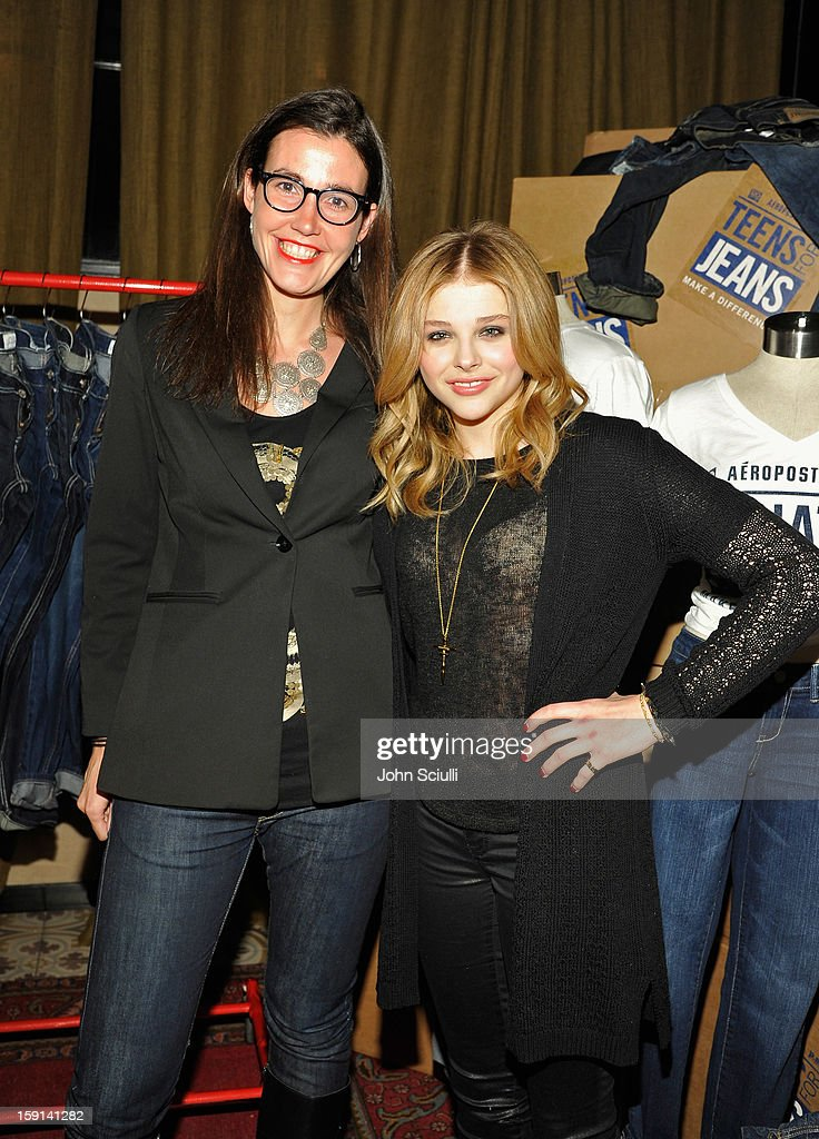 COO of DoSomething.org Aria Finger and actress Chloe Grace Moretz attend the DoSomething.org and Aeropostale launch of the 6th annual 'Teens For Jeans' hosted by Chloe Moretz at Palihouse on January 8, 2013 in West Hollywood, California.