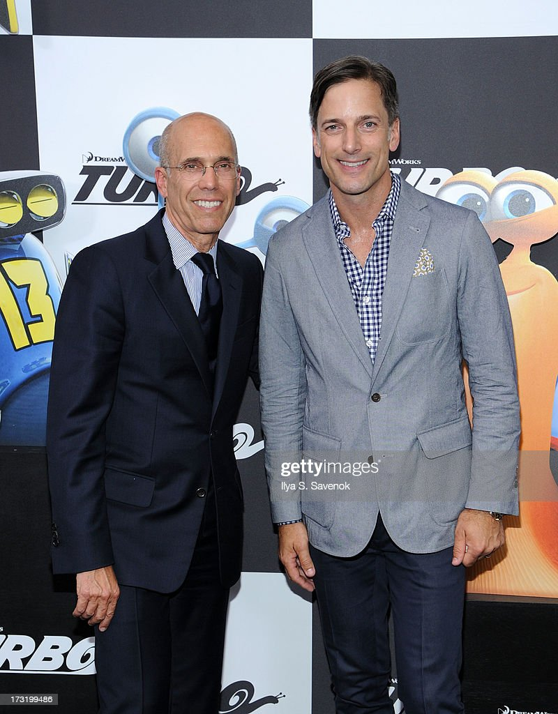 CEO of DreamWorks Animation Jeffrey Katzenberg and Dreamworks chief creative officer Bill Damaschke attend the 'Turbo' New York Premiere at AMC Loews Lincoln Square on July 9, 2013 in New York City.