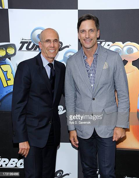 CEO of DreamWorks Animation Jeffrey Katzenberg and Dreamworks chief creative officer Bill Damaschke attend the 'Turbo' New York Premiere at AMC Loews...