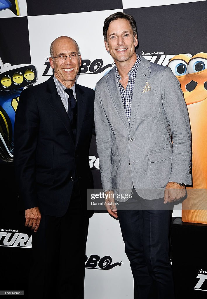 CEO of DreamWorks Animation <a gi-track='captionPersonalityLinkClicked' href=/galleries/search?phrase=Jeffrey+Katzenberg&family=editorial&specificpeople=171496 ng-click='$event.stopPropagation()'>Jeffrey Katzenberg</a> and Dreamworks chief creative officer Bill Damaschke attend the 'Turbo' New York Premiere at AMC Loews Lincoln Square on July 9, 2013 in New York City.