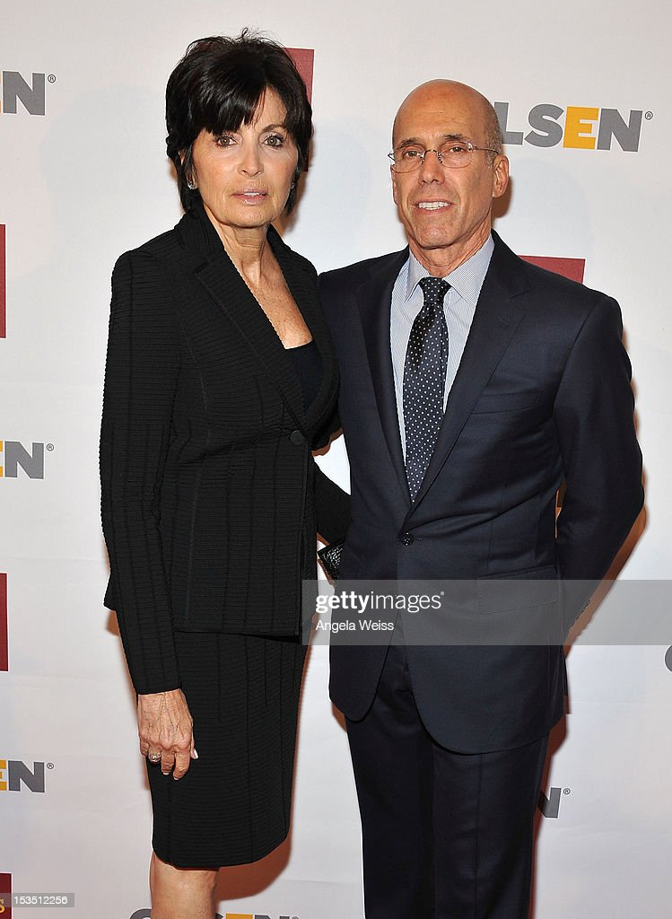 CEO of DreamWorks Animation <a gi-track='captionPersonalityLinkClicked' href=/galleries/search?phrase=Jeffrey+Katzenberg&family=editorial&specificpeople=171496 ng-click='$event.stopPropagation()'>Jeffrey Katzenberg</a> (R) and his wife Marylin Katzenberg (L) arrive at the 8th annual GSLEN Respect Awards at Beverly Hills Hotel on October 5, 2012 in Beverly Hills, California.
