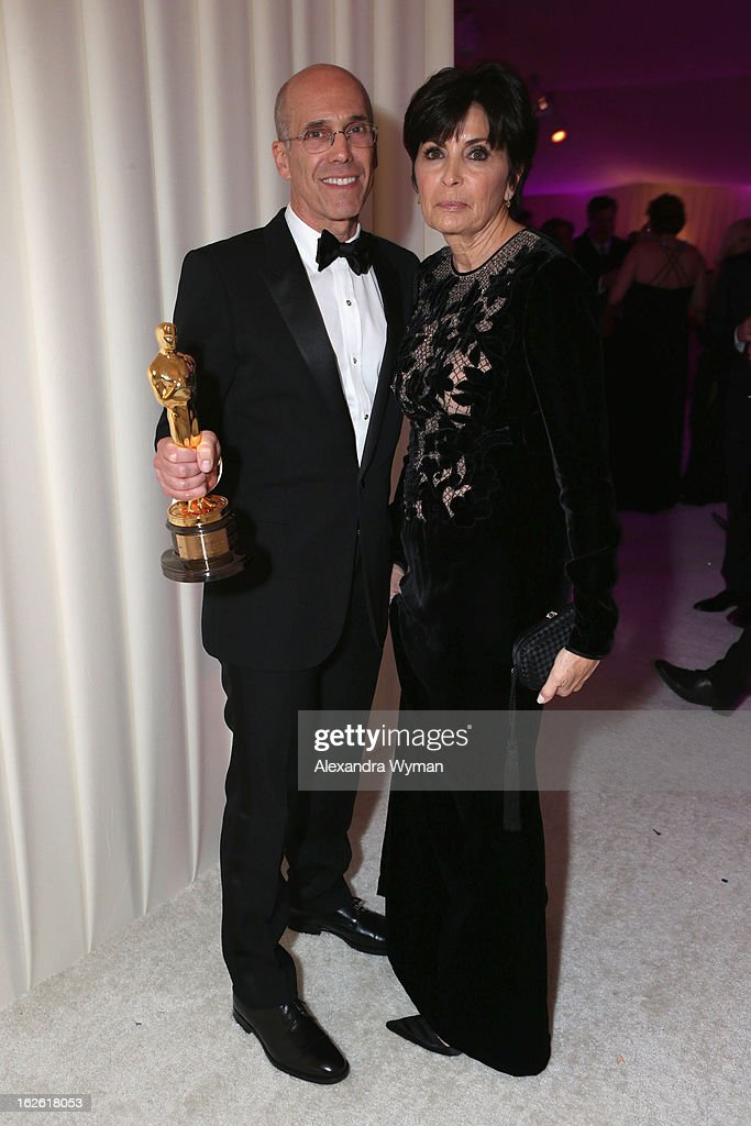CEO of DreamWorks Animation Jeffrey Katzenberg and Marilyn Katzenberg attend the 21st Annual Elton John AIDS Foundation Academy Awards Viewing Party at West Hollywood Park on February 24, 2013 in West Hollywood, California.