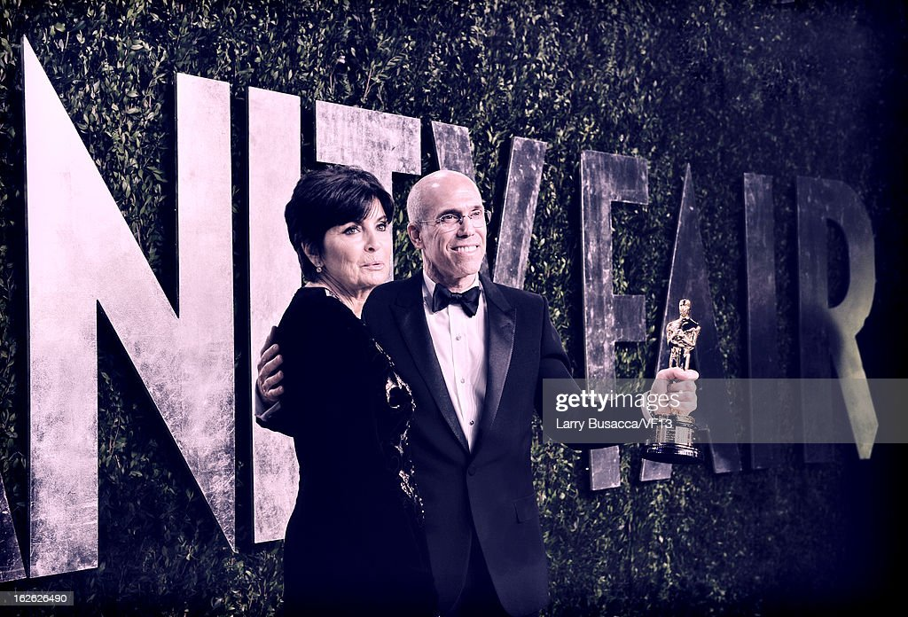 CEO of DreamWorks Animation <a gi-track='captionPersonalityLinkClicked' href=/galleries/search?phrase=Jeffrey+Katzenberg&family=editorial&specificpeople=171496 ng-click='$event.stopPropagation()'>Jeffrey Katzenberg</a> (R) and Marilyn Katzenberg attend for the 2013 Vanity Fair Oscar Party hosted by Graydon Carter at Sunset Tower on February 24, 2013 in West Hollywood, California.