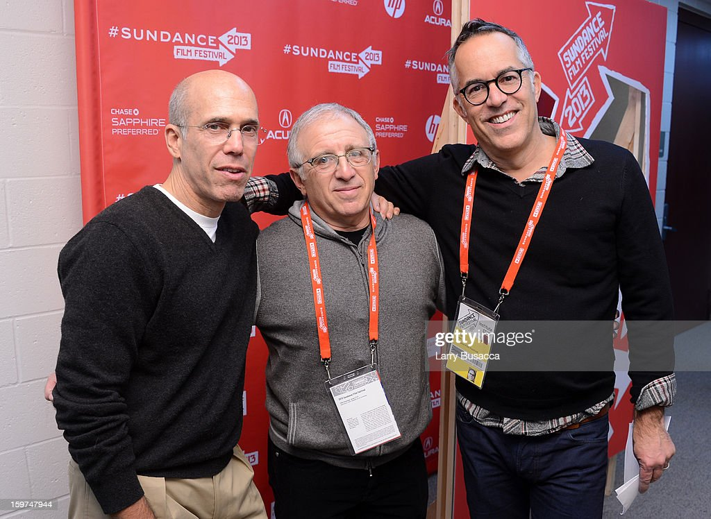 CEO of DreamWorks Animation <a gi-track='captionPersonalityLinkClicked' href=/galleries/search?phrase=Jeffrey+Katzenberg&family=editorial&specificpeople=171496 ng-click='$event.stopPropagation()'>Jeffrey Katzenberg</a>, <a gi-track='captionPersonalityLinkClicked' href=/galleries/search?phrase=Irving+Azoff&family=editorial&specificpeople=2560071 ng-click='$event.stopPropagation()'>Irving Azoff</a> and Sundance Festival Director John Cooper attend the 'History of the Eagles Part 1' premiere and Q&A during the 2013 Sundance Film Festival at Eccles Theater on January 19, 2013 in Park City, Utah.